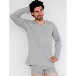 ALBERO V Neck Shirt (Langarm) grau