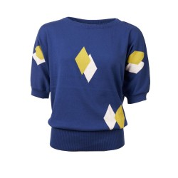 Froy en Dind Sweater Sybille Hip BLue-White-Citronell