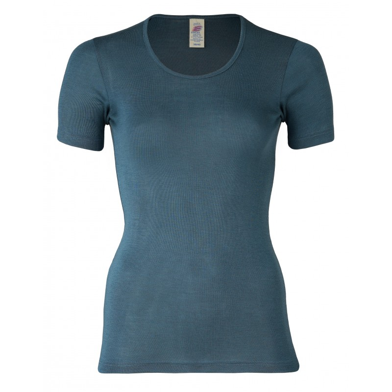 Engel Shirt Short Sleeved, fine rib atlantik