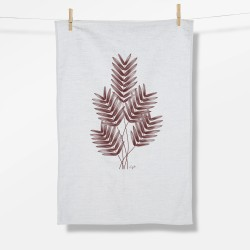 Greenbomb Plants Feather Leaves Tea Towel white