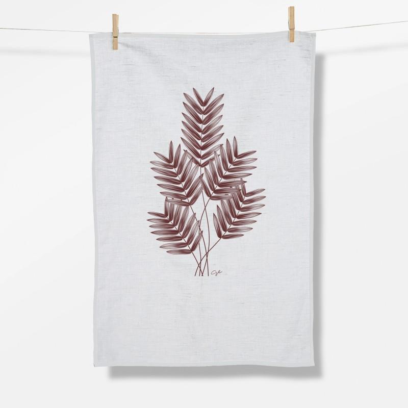 Greenbomb Plants Feather Leaves Tea Towel white