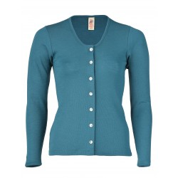 Engel Ladies' cardigan long sleeved, fine rib Turquoise