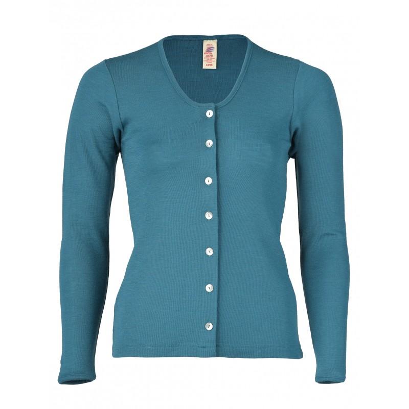 Engel Ladies' cardigan long sleeved, fine rib Turquoise