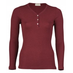 Engel Ladies' shirt long sleeved with button tab, interlock rib Burgundy
