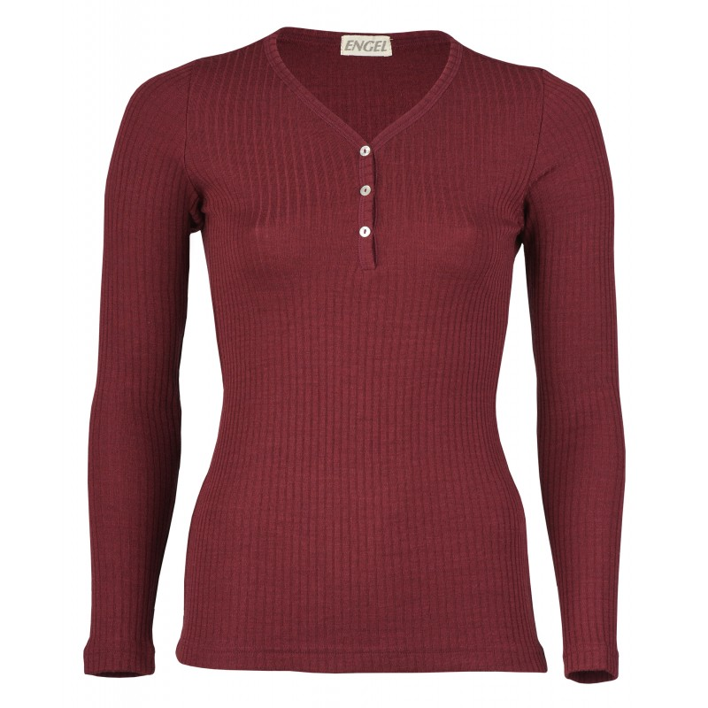 Engel Ladies' shirt long sleeved with button tab, interlock rib Burgundy