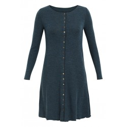Jalfe Button Dress wool melange petrol /black