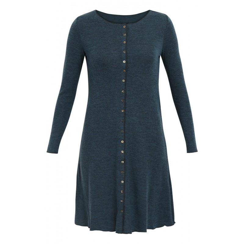 Jalfe Button Dress wool melange petrol /black