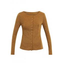 Jalfe Cardigan Wool plain melange mustard