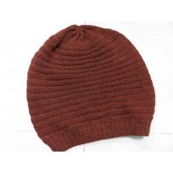 De Colores Mütze 100% Alpaka rotbraun melange