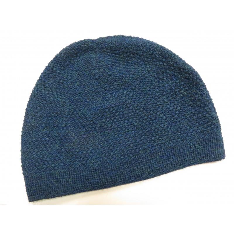 De Colores Mütze Struckturstrick 100% Baby-Alpaka petrolblau melange