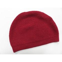De Colores Mütze Struckturstrick 100% Baby-Alpaka kirschrot