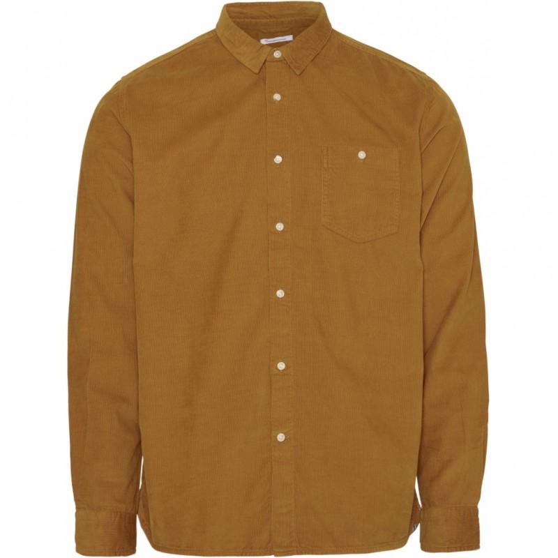 Knowledge Elder Regular Fit Baby Cord Shirt Buckhorn Brown