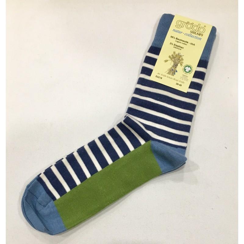 Grödo Damen-/Herrensocke Jeansblau-Denim-Ecru