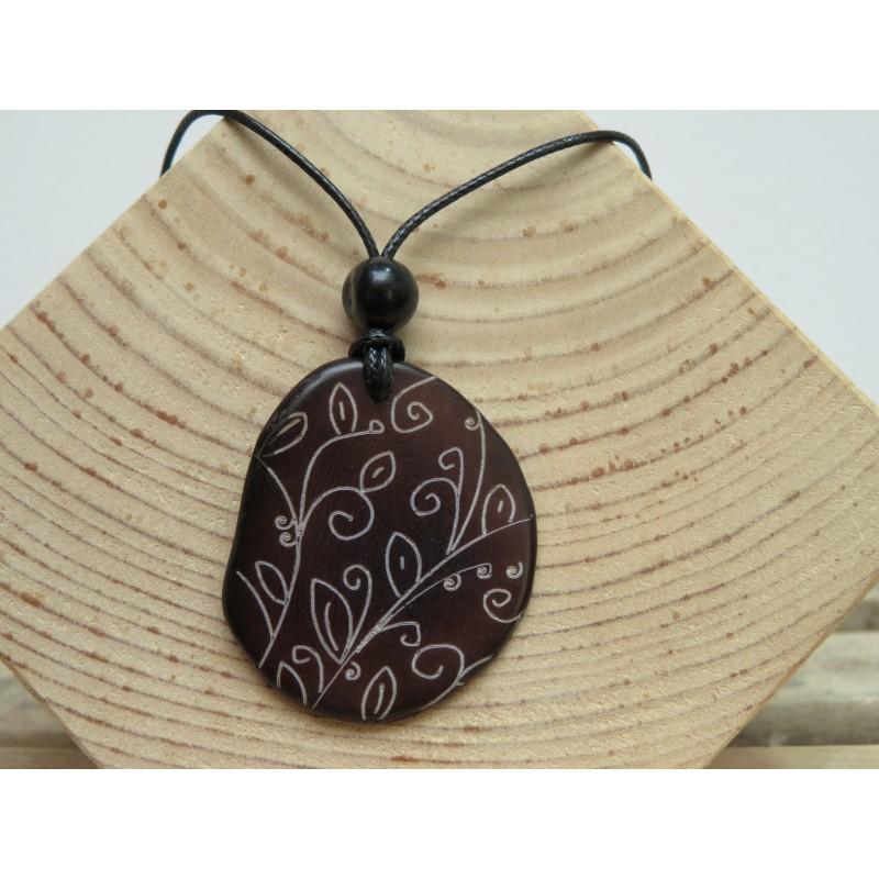 La Tagua Lassa Necklace bruin Tagua