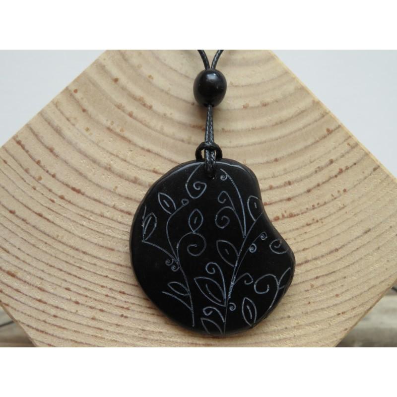 La Tagua Lassa Necklace zwart Tagua