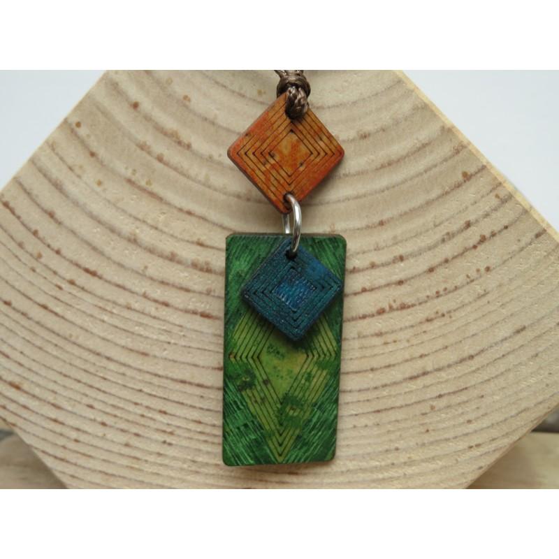 La Tagua Kogy Necklace groen (oranje/blauw) Tagua