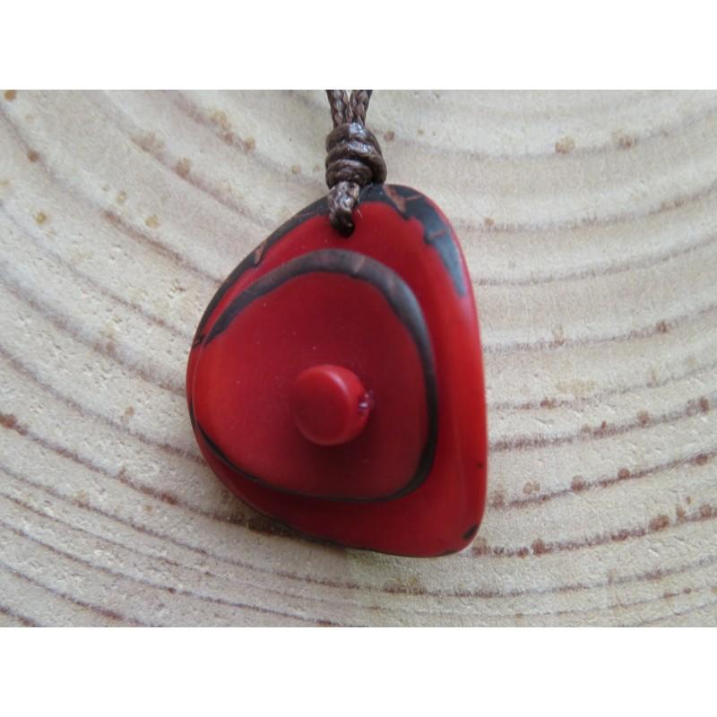 La Tagua Zaina Necklace rood Tagua