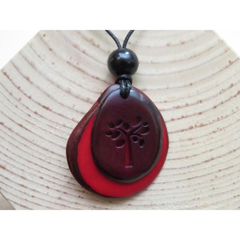 La Tagua Vivi Necklace rood-bruin-boom Tagua