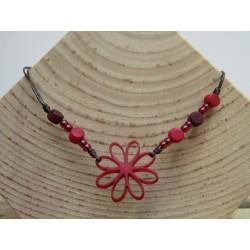La Tagua Flor Necklace rood
