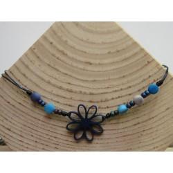 La Tagua Flor Necklace blauw