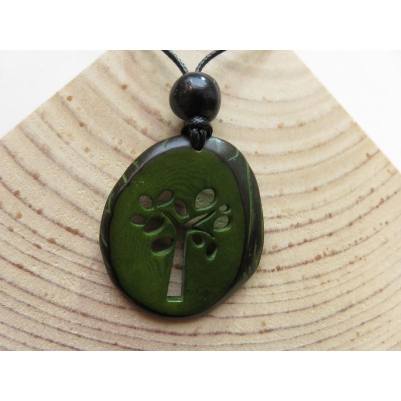 La Tagua Terra Necklace groen Tagua