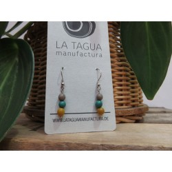 La Tagua Chiraret earrings geel/blauw/beige