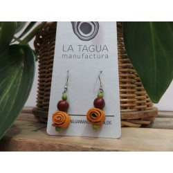 La Tagua Caracolita Orange Peel-Earings  oranje/groen