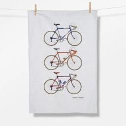 Greenbomb Bike Retro Vibes Tea Towel white