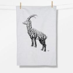 Greenbomb Animal Ram Tea Towel white