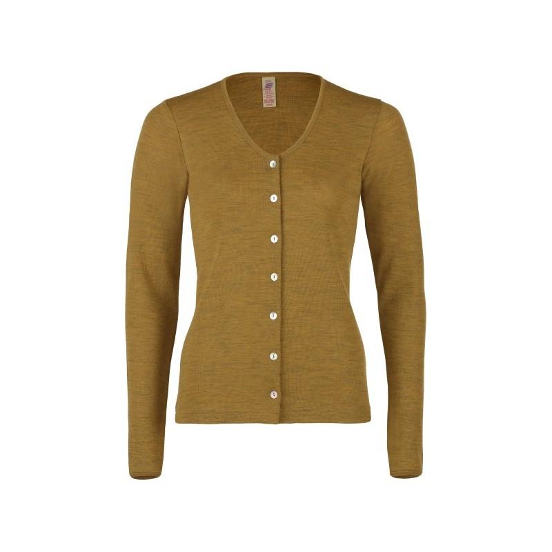 Engel Ladies' cardigan long sleeved, fine rib saffron mélange