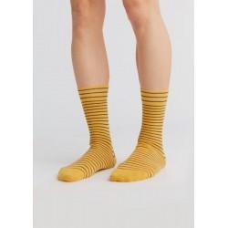 ALBERO Lange sokken Mosterdgeel-donkerblauw