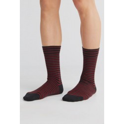 ALBERO Lange sokken Kersrood-zwart