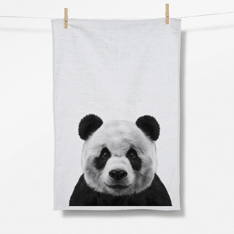 Greenbomb Animal Panda Tea Towel white